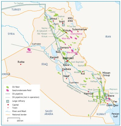 Major fields and infrastructure in Iraq. Source: IEA.