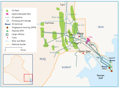 Major oil and gas fields and related infrastructure in southern Iraq. Source: IEA.