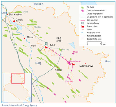 Map 4. Major hydrocarbon fields and infrastructure in northern Iraq (including KRG).