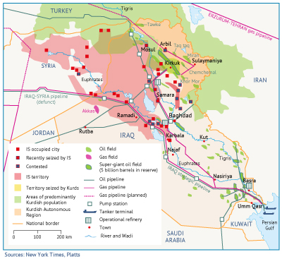 Map 5. Iraq's oil and gas infrastructure and IS- and KRG-controlled territory (Kirkuk field seizure highlighted).