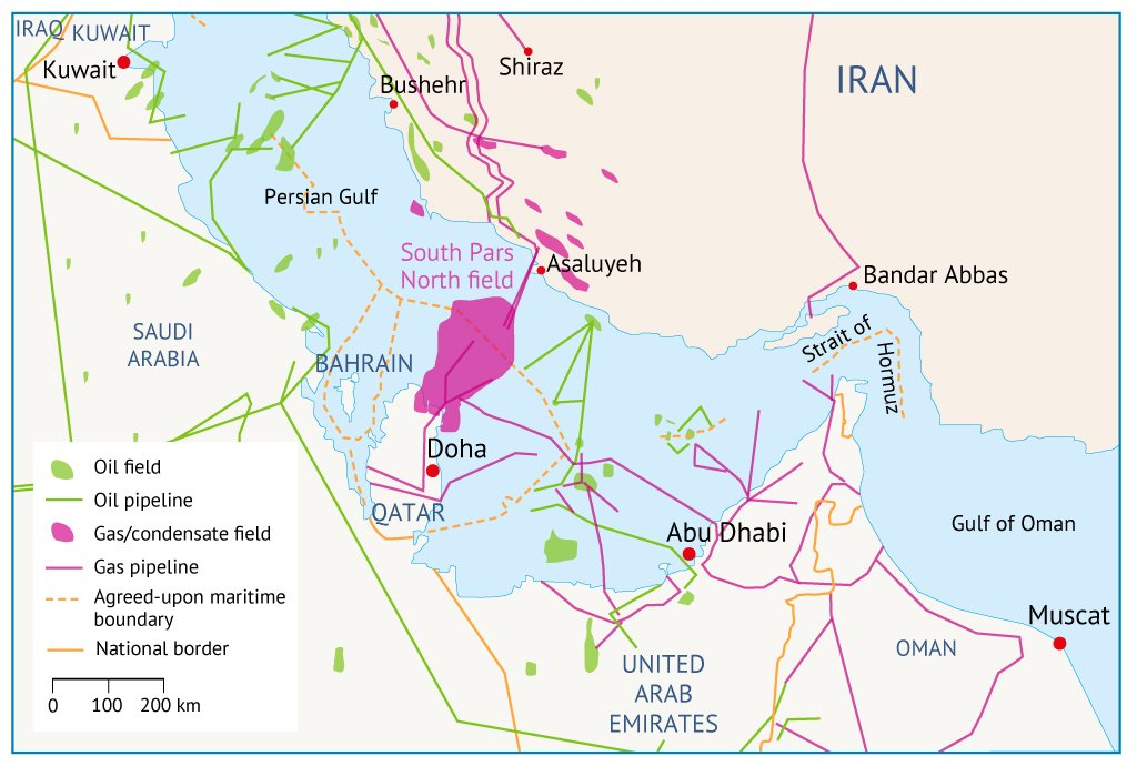 Map 4. The Strait of Hormuz, the world's most important oil chokepoint.