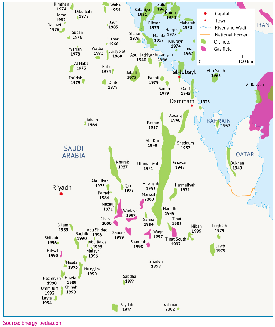 Major oil and gas fields in the Eastern Region, with years of discovery.