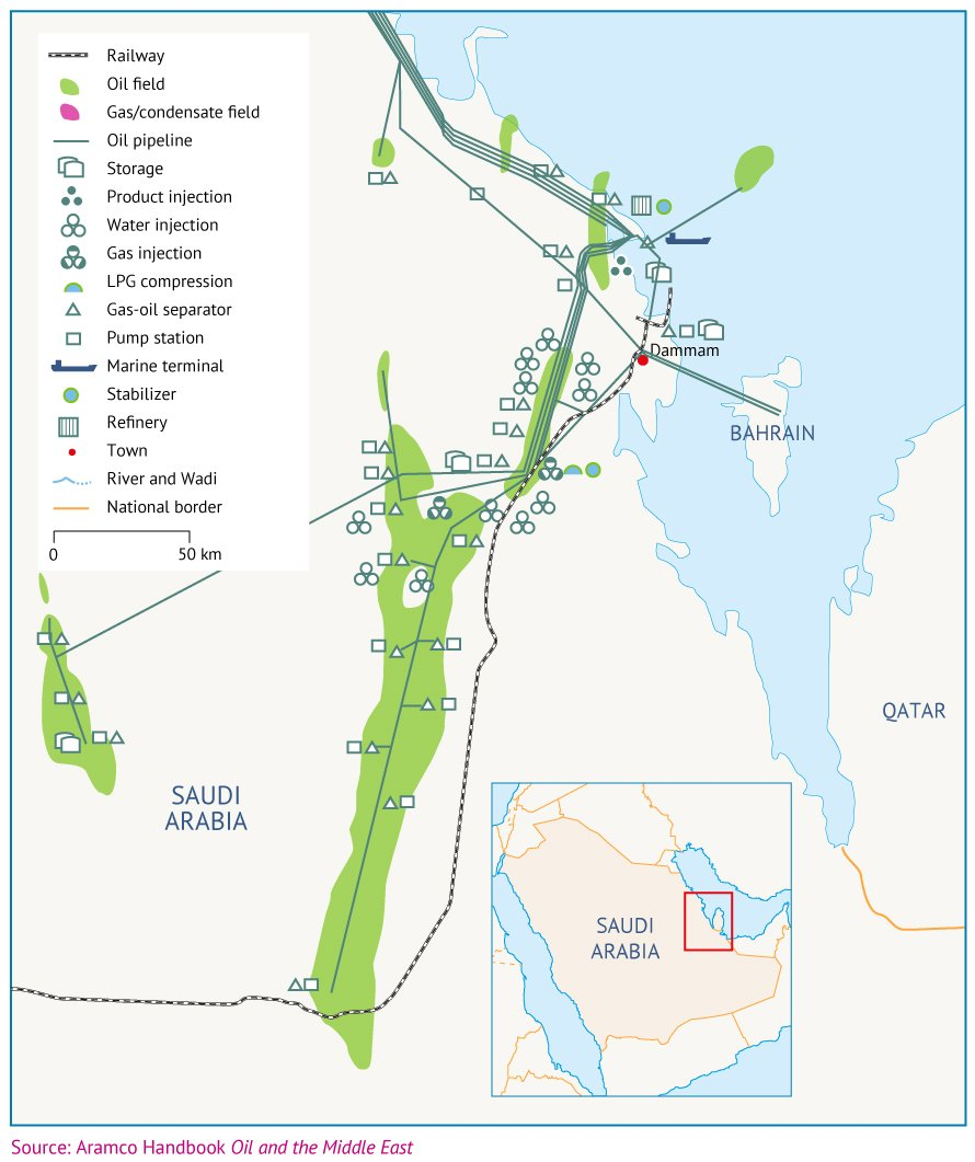 Map 3. Ghawar, Abqaiq, Ras Tanura and other key infrastructure.