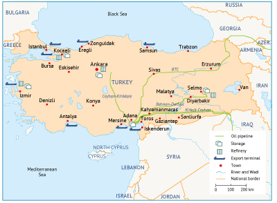 Turkey oil and gas infrastructure