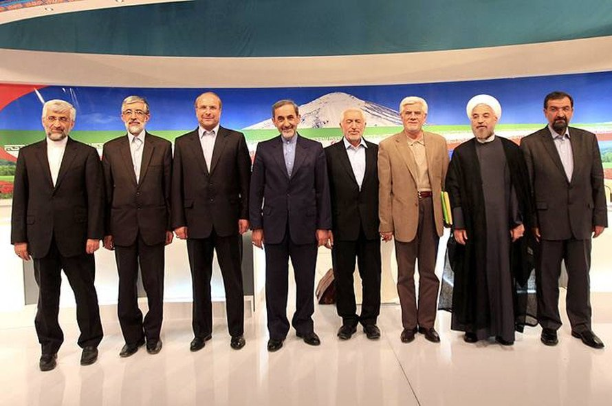 Candidates of the 2013 Presidential elections, from left: Saeed Jalili, Gholam Ali Haddad Adel, Mohammad Bagher Qalibaf, Ali Akbar Velayati, Mohammad Gharazi, Mohammad Reza Aref, Hassan Rowhani, Mohsen Rezaei