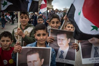 Children pro-Assad Christian village HomsPresidential Elections amid Civil War