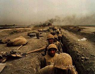 Soldiers in trenches during the Iraq-Iran War