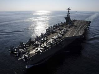US navy aircraft carrier in the Strait of Hormuz