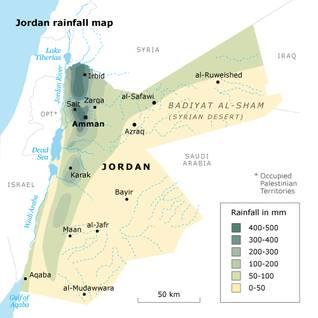 Economy Jordan - Jordan rainfall map