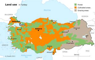 Economy Turkey - Agriculture Map