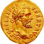 Golden coin depicting Roman emperor Septimius Severus
