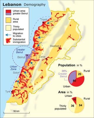 Demographic map of Lebanon