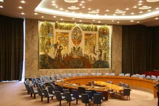 قاعة مجلس الأمن في مقر الأمم المتحدة في نيويورك، الولايات المتحدة الأمريكية