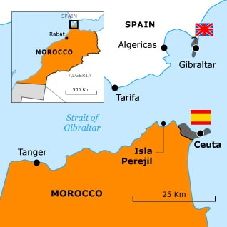 Map Of Spain Gibraltar And Morocco.Border Disputes