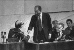 Egyptian President Anwar Sadat is welcomed by Israeli Prime Minister Menachem Begin in the Knesset Photo HH