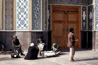 governance iran - Professional writers offer their services in front of the Mosque in Qom Photo Fanack