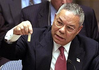 US Secretary of State Colin Powell at the UN Security Council meeting, 5 February 2003