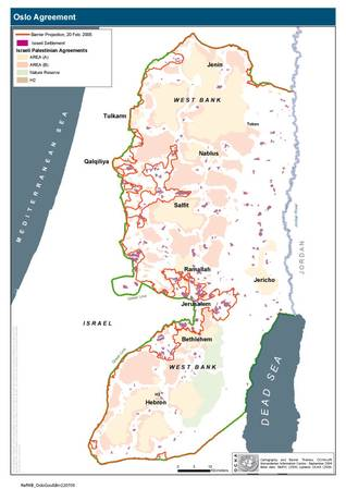 Map of the (projected) Wall showing the West Bank area that will be shut off for Palestinians / Source: OCHA