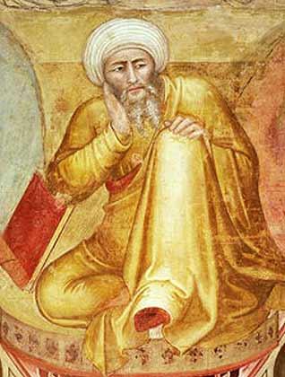 المفكر ابن رشد الذي عاش في القرن الثاني عشر، لوحة للفنان أندريا دو فيرنزي من القرن الرابع عشر