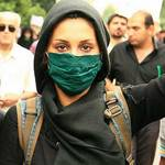 Demonstrator of the green movement in Tehran