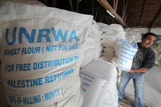 UNRWA food distribution in the al-Shati/Beach refugee camp in Gaza, 2009 Israeli occupation