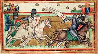 صورة من القرون الوسطى للصليبيين وهم يقاتلون جيشاً إسلامياً
