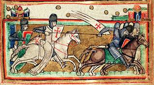 Medieval illustration of crusaders fighting Saracens