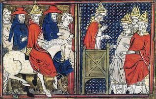 البابا أوربانوس يدعو لحرب صليبية ضد المسلمين عام 1095، في كليمونت فيراند، فرنسا
