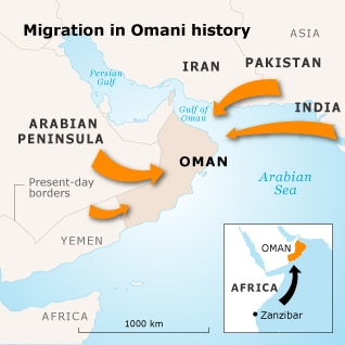 Oman Population - Region Migration Map