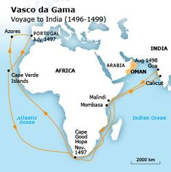 البرتغال الهند سلطنة عمان فاسكو دي غاما رحلة