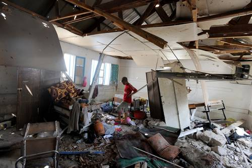 A UN school in Jabaliya refugee camp was hit by Israeli shelling on 30 July 2014 / Photo UN Photo