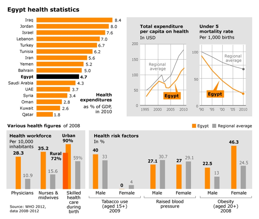 infographic on health system in Egypt