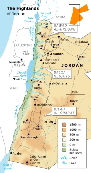 Geography Jordan - The Highlands