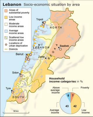 Map describing socio-economic situation by area in Lebanon