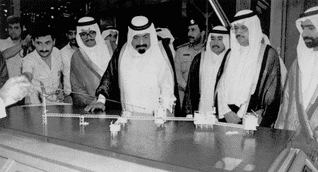 Khalifa bin Hamad Al Thani studying the development of offshore gasfields