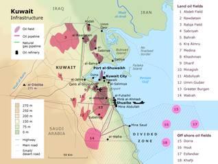 economy kuwait - infrastructure map