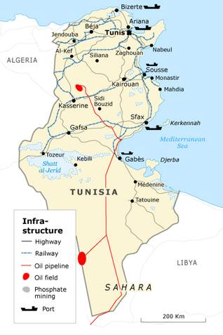 Economy Tunisia - infrastructure map