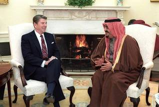 US President Ronald Reagan and King Fahd in the White House in Washington D.C. in the US, in 1985