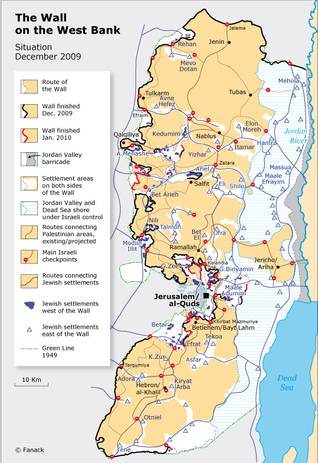 Map showing the parts of the West Bank where Jewish settlers live, and the Wall