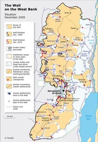 خارطة تظهر الأجزاء التي يقطنها المستوطنون اليهود والجدار في الضفة الغربية