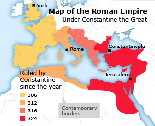 Map of the Roman Empire under Constantine the Great