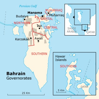 Governance Bahrain - Bahraini governates map