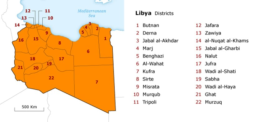 Libya Governance - Provinces Map