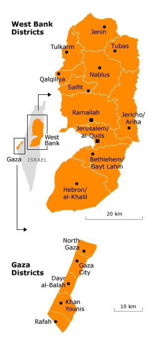 west bank & Gaza districts
