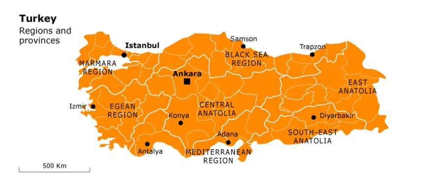 Governance Turkey - Provinces Map