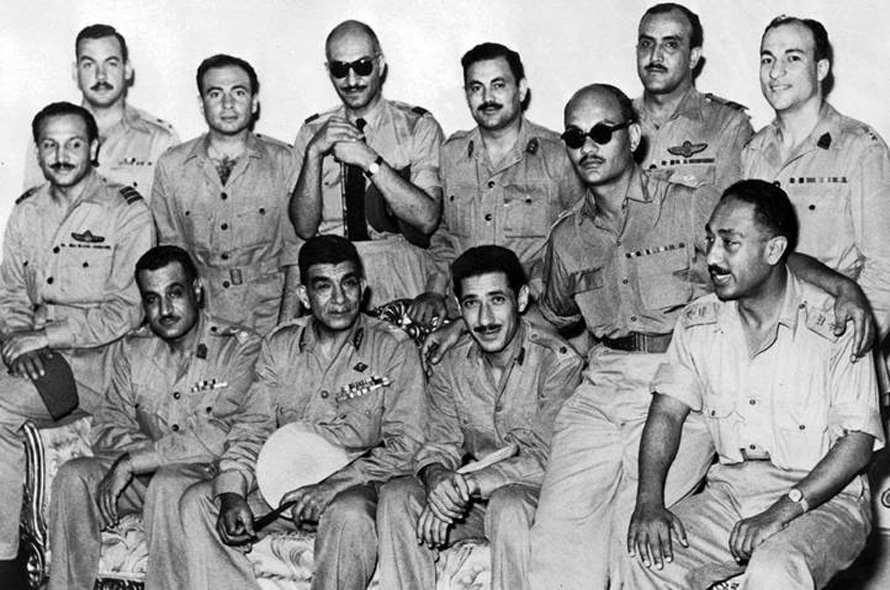 The Free Officers Movement, front row: Gamal Abdel Nasser, Mohammed Naguib, Abdel Hakim Amer, Salah Salem, and Anwar al-Sadat / Photo HH