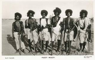 Population Egypt - Old postcard showing a group of Beja nomad warriors