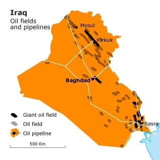 Iraq Oil Field and Pipelines