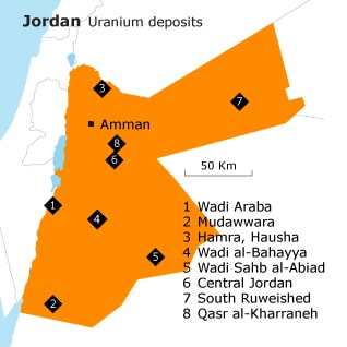 Geography Jordan - Uranium deposits