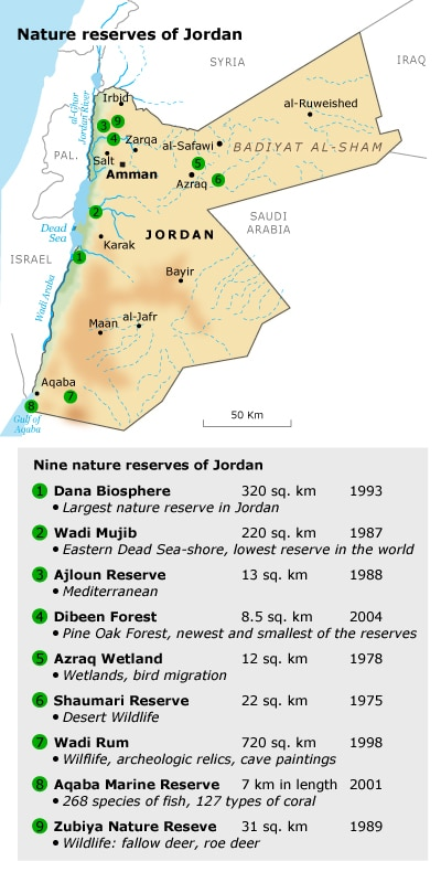 geography Jordan - Nature reserves